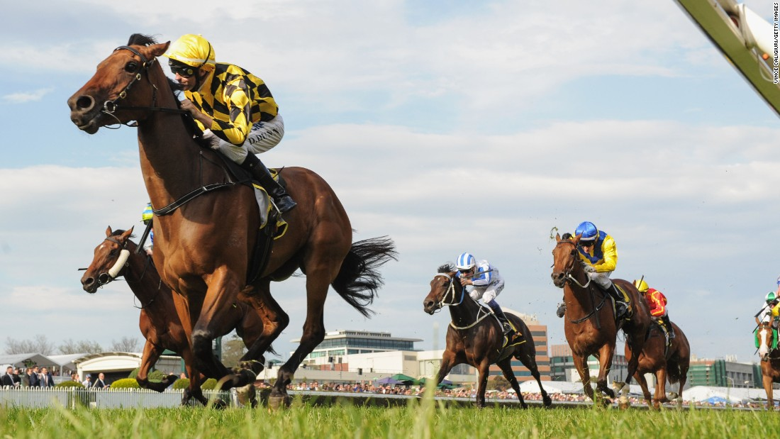 Dwayne Dunn rides Stay With Me to win a race at Melbourne's Caulfield Racecourse on Saturday, October 10.