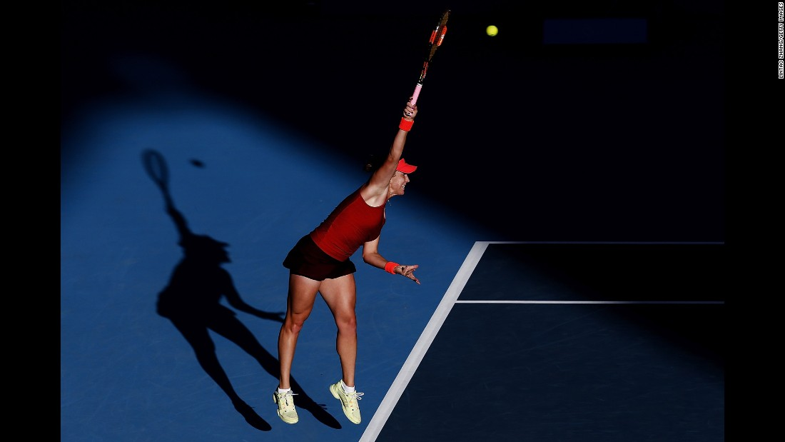 Anastasia Pavlyuchenkova hits a shot during the second round of the China Open on Thursday, October 8.