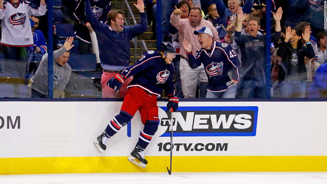 Columbus' Cam Atkinson celebrates a goal during an NHL game in Columbus, Ohio, on Friday, October 9.