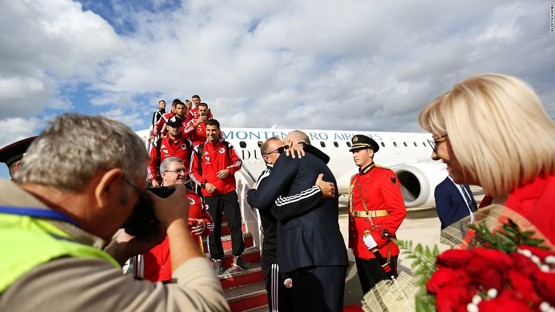 The players were met at Tirana airport by the country's prime minister Edi Rama.