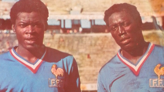 """Marius Trésor (left) and Adams (right) formed a defensive unit known as the """"Garde Noire""""  or """"Black Guard."""" It was the first time France had ever had two black players in the center of defense."""