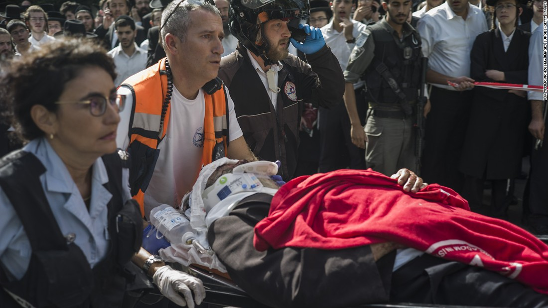 "Medics attend the scene of a stabbing attack in Jerusalem on October 13. Random, unpredictable attacks <a href=""http://www.cnn.com/2015/10/14/middleeast/israel-palestinian-tensions/index.html"" target=""_blank"">have stumped Israeli police,</a> CNN's Ben Wedeman reported."