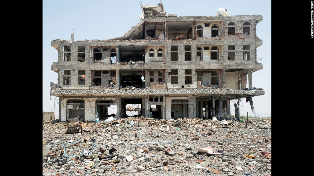 This hospital was heavily damaged by an airstrike. According to the United Nations, more than 5,400 people have been killed in the Yemen conflict this year.