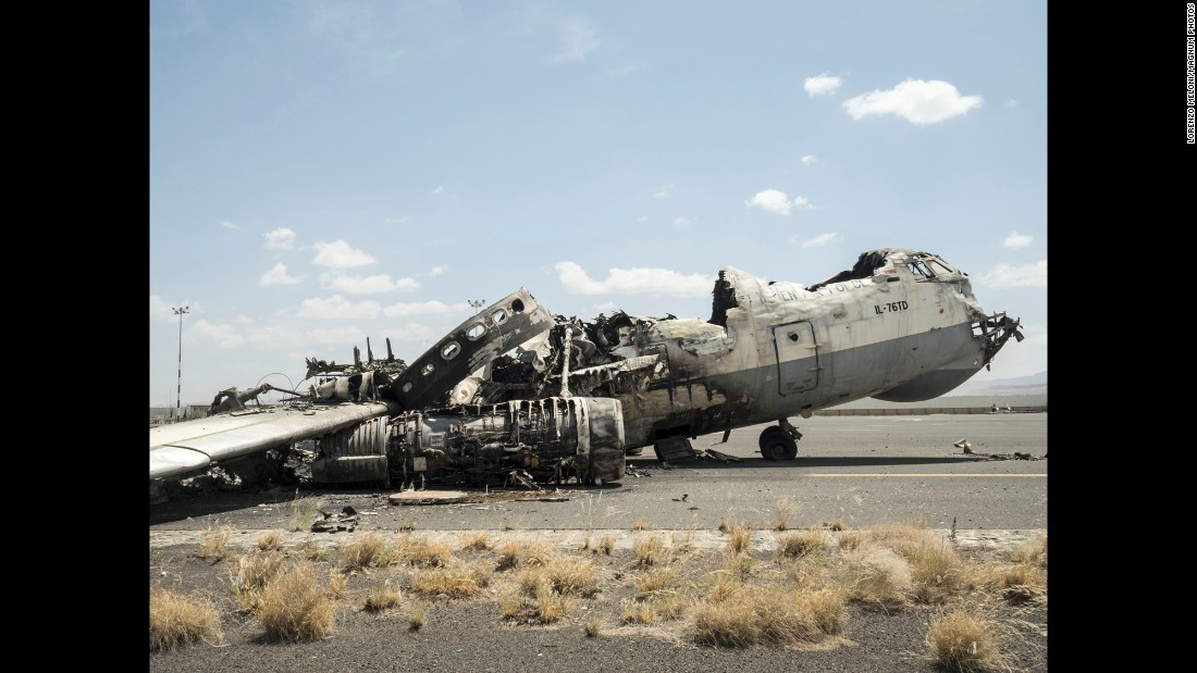 This military transport aircraft was destroyed by an airstrike.