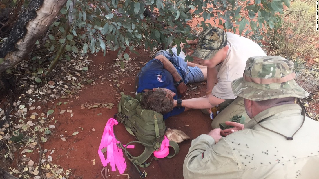 A hunter survived six days without water in a huge Australian desert by eating black ants, police said.