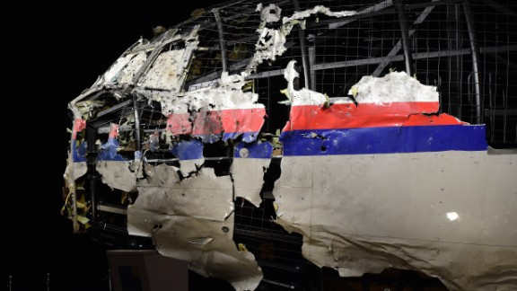 The wrecked cockipt of the Malaysia Airlines flight  MH17 is exhibited during a presentation of the final report on the cause of the its crash at the Gilze Rijen airbase October 13, 2015. Air crash investigators have concluded that Malaysia Airlines flight MH17 was shot down by a missile fired from rebel-held eastern Ukraine, sources close to the inquiry said today, triggering a swift Russian denial. The findings are likely to exacerbate the tensions between Russia and the West, as ties have strained over the Ukraine conflict and Moscow