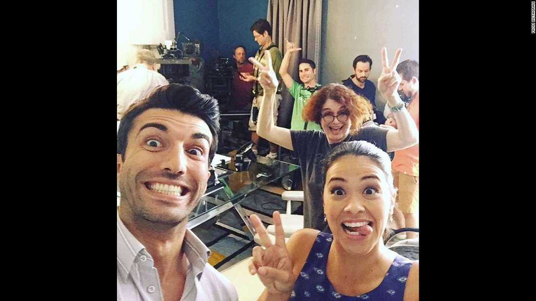 "Actor Justin Baldoni takes an on-set selfie with his ""Jane the Virgin"" co-stars on Monday, October 12. <a href=""https://instagram.com/p/8wn_eBkJWh/"" target=""_blank"">He wrote on Instagram</a> that they were getting ready to watch the show's Season 2 premiere."
