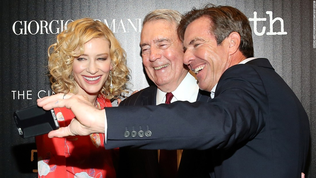 "From left, actress Cate Blanchett, journalist Dan Rather and actor Dennis Quaid attend a screening of the movie ""Truth"" on Wednesday, October 7. Blanchett and Quaid star in the movie. Rather is played by actor Robert Redford."