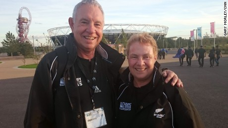 Dennis and Ann Owen at London's Olympic Park ahead of NZ vs. Namibia game.