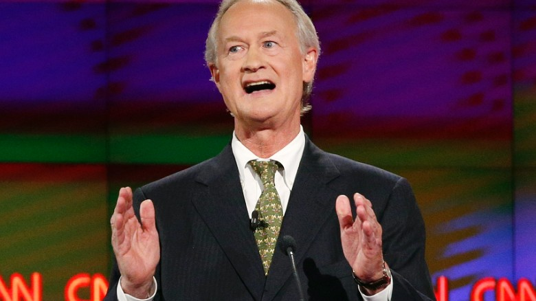 Former Rhode Island Gov. Lincoln Chafee speaks during the CNN Democratic presidential debate Tuesday, Oct. 13, 2015, in Las Vegas. (AP Photo/John Locher)