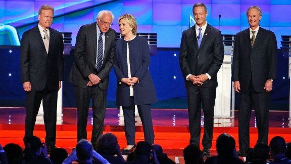 Democratic presidential candidates take the stage before debating in Las Vegas on Tuesday, October 13. From left are former U.S. Sen. Jim Webb, U.S. Sen. Bernie Sanders, former Secretary of State Hillary Clinton, former Maryland Gov. Martin O
