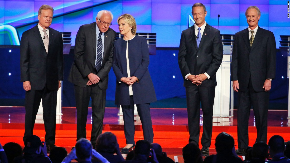 "<a href=""http://www.cnn.com/2015/10/13/politics/gallery/democratic-debate-las-vegas/index.html"" target=""_blank"">Democratic presidential candidates take the stage before debating </a>in Las Vegas on Tuesday, October 13. From left are former U.S. Sen. Jim Webb, U.S. Sen. Bernie Sanders, former Secretary of State Hillary Clinton, former Maryland Gov. Martin O'Malley and former Rhode Island Gov. Lincoln Chafee."