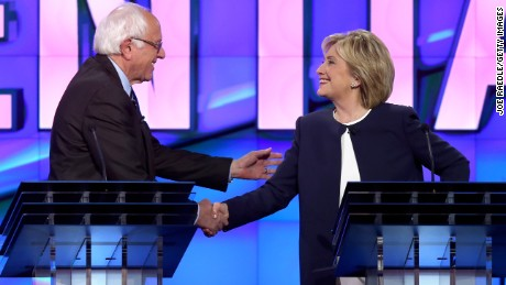 LAS VEGAS, NV - OCTOBER 13:  Democratic presidential candidates U.S. Sen. Bernie Sanders (I-VT) (L) and Hillary Clinton shake hands at the end of a presidential debate sponsored by CNN and Facebook at Wynn Las Vegas on October 13, 2015 in Las Vegas, Nevada. Five Democratic presidential candidates are participating in the party's first presidential debate.  (Photo by Joe Raedle/Getty Images)