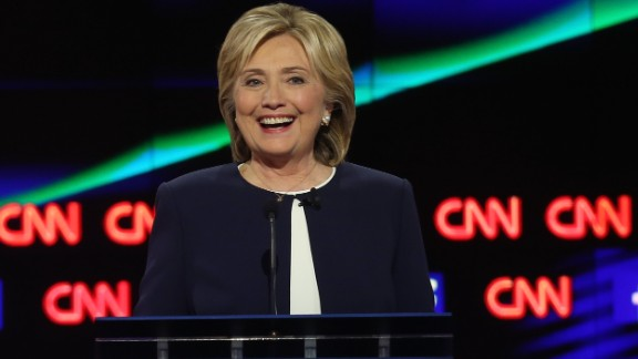 LAS VEGAS, NV - OCTOBER 13:  Democratic presidential candidate Hillary Clinton takes part in a presidential debate sponsored by CNN and Facebook at Wynn Las Vegas on October 13, 2015 in Las Vegas, Nevada. Five Democratic presidential candidates are participating in the party