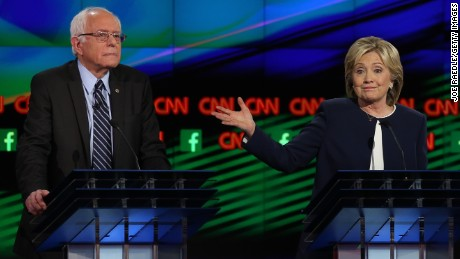 LAS VEGAS, NV - OCTOBER 13:  Democratic presidential candidates U.S. Sen. Bernie Sanders (I-VT) (L) and Hillary Clinton take part in a presidential debate sponsored by CNN and Facebook at Wynn Las Vegas.