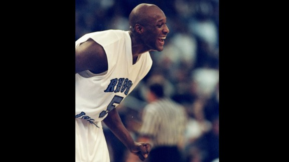Odom laughs during a game with the University of Rhode Island in November 1998.