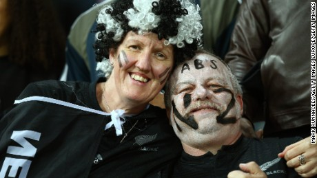 Pippa Chard and Craig Lockwood at the NZ-Tonga game in Newcastle.