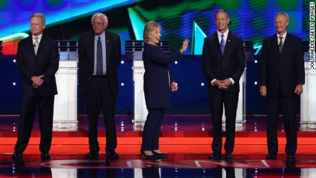 (From left to right) Democratic presidential candidates Jim Webb, U.S. Sen. Bernie Sanders (I-VT), Hillary Clinton, Martin O'Malley and Lincoln Chafee take the stage for a presidential debate sponsored by CNN and Facebook at Wynn Las Vegas on October 13, 2015 in Las Vegas, Nevada.