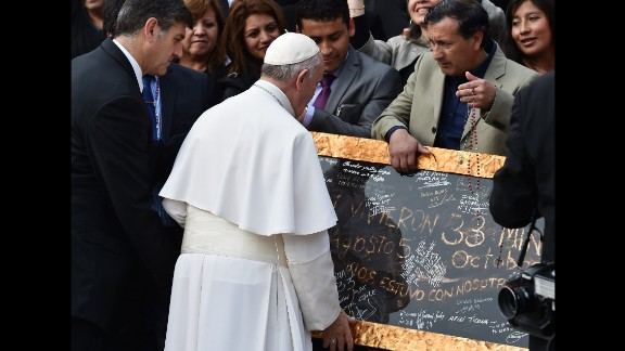 The Pope gave each of the miners a blessed rosary. Five years ago, they were stuck underground for more than two months.