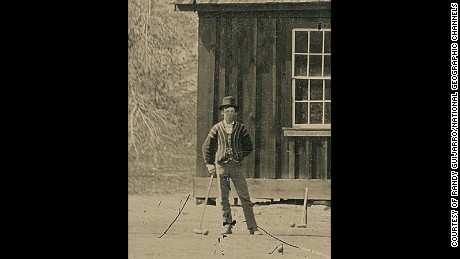 A closeup from what experts say is a tintype photograph of Billy the Kid and members of his gang, The Regulators, playing croquet in Lincoln County, New Mexico, in 1878.
