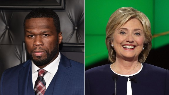 """Rapper 50 Cent announced his support for Clinton, telling The Daily Beast, """"It"""