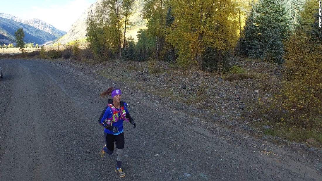 LaBaw's run is expected to end on October 19, after one month. Here she is running near Silverton, Colorado.