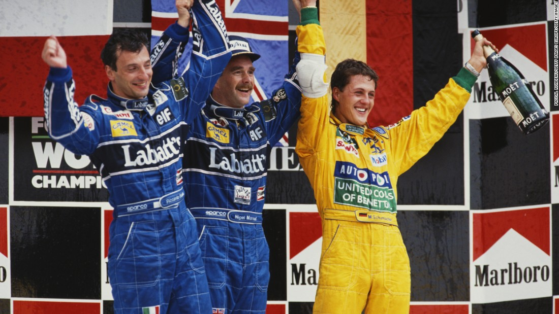 "Nigel Mansell (center) won the 1992 Mexican Grand Prix (the last before it returned in 2015) ahead of Riccardo Patrese (left) and Michael Schumacher. Turn 17 has been renamed in Mansell's honor. ""It's a stunning place,"" Mansell, the British 1992 world champion, told CNN."