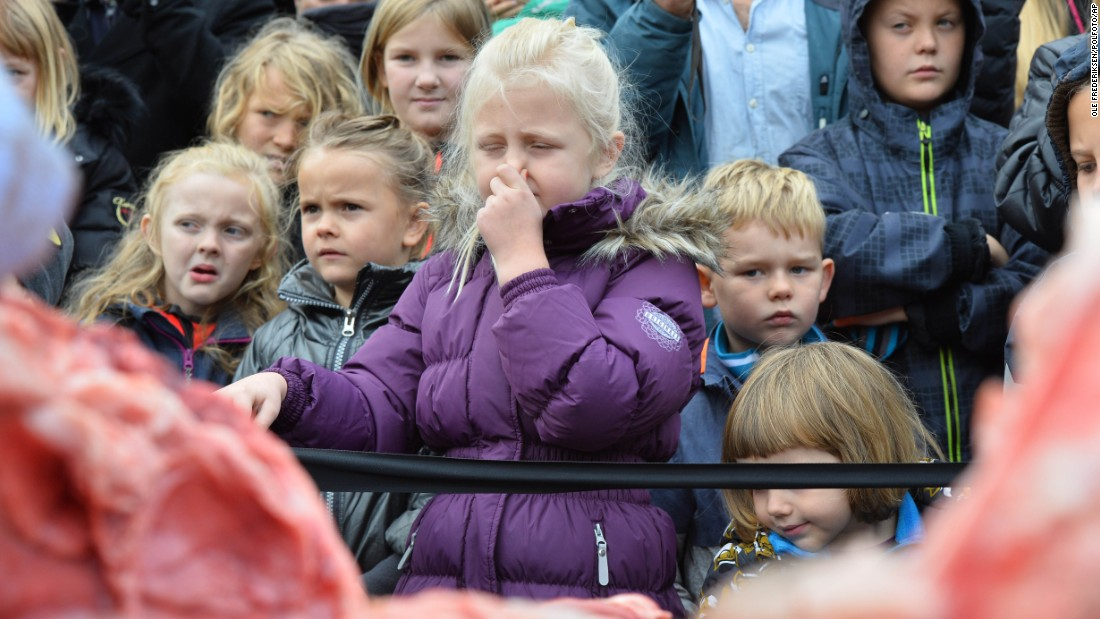 "Children react to the dissection of a dead lion at the Odense Zoo in Odense, Denmark, on Thursday, October 15. The zoo euthanized the lion earlier this year because it couldn't find another home for it. The dissection was meant to be educational, but some people on social media <a href=""http://www.nytimes.com/2015/10/16/world/europe/denmark-lion-zoo-dissection.html?_r=0"" target=""_blank"">were horrified by the decision.</a>"