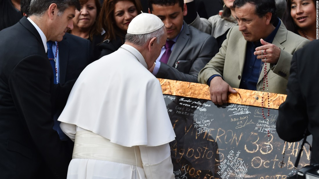 "During his weekly audience at the Vatican, Pope Francis meets with some of the Chilean miners who were dramatically rescued after an accident in 2010. The miners, who are in Rome promoting a new film about the mine disaster, <a href=""http://www.cnn.com/2015/10/14/europe/pope-francis-meets-chilean-miners/"" target=""_blank"">posed for photos and presented gifts to the Pope.</a>"