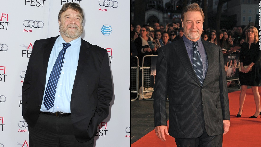 """Roseanne"" star John Goodman is known for his burly frame in addition to his acting chops. Goodman has slimmed down noticeably, as was evident at a screening of ""Trumbo"" in October. The photo on the left was snapped just a year earlier at a showing of ""The Gambler."""