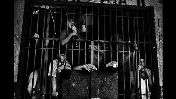 A crowded cell holds prisoners in Santiago, Chile, in 2008.