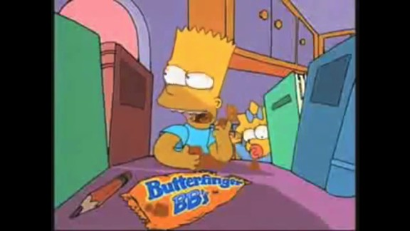"The Butterfinger chocolate bar has been around since the 1920s, and an offshoot -- Butterfinger BBs -- was introduced in the early 1990s, with Bart Simpson as a spokescharacter. Unlike ""The Simpsons,"" however, the ball-shaped chocolate didn"