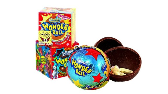 Originally the Nestle Magic Ball, the Wonder Ball was a hollow chocolate ball filled with candy. It was introduced in the