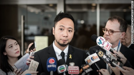 Ken Tsang sought a review of his stalled case against the police at Hong Kong's high court of justice on April 17, 2015.