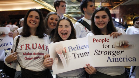 Supporters of Donald Trump before he announced his bid for the presidency at the Trump Tower on June 16, 2015. It later emerged that actors were hired to cheer the announcement.