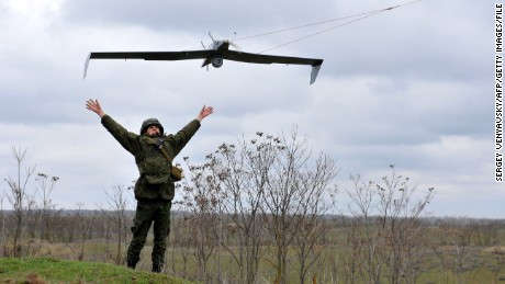 Russia is believed to have about 800 unarmed drones, many of them smaller vehicles similar to this one being deployed as part of Russian military drills in March.