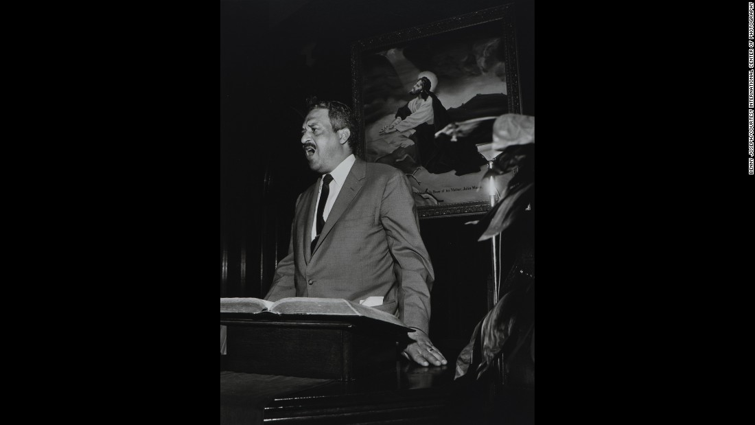 The exhibition includes Joseph's portraits of prominent African-American civil rights leaders, including Thurgood Marshall, pictured here at Antioch Baptist Church in Houston.