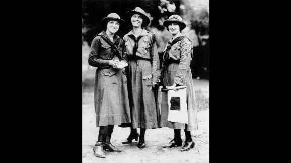 """1910s: Juliette Gordon Low hoped to create an organization """"that would prepare girls to meet their world with courage, confidence and character."""" Dorothy Fath, left, Capt. Rhonda Piggot, middle, and Viola Oates from Cleveland Pansy Troop No. 1, shown here around 1919, were some of the first girls to benefit from Low's lofty mission."""