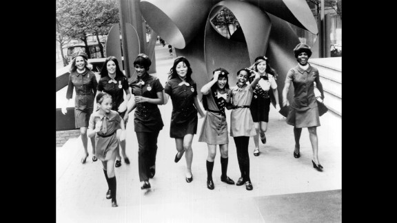 1960s: In this picture from the 1960s, the four Brownie, Junior, Cadette, Senior and Adult age levels are all represented. There are now six  levels for Girl Scouts, starting with Daisies in kindergarten and grade 1, and going up to Ambassadors for grades 10-12.