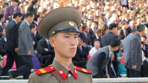 During a carefully choreographed show of strength to mark the 70th anniversary of the ruling Korean Workers' Party in October 2015, a soldier marches across Pyongyang's Kim Il Sung Square.