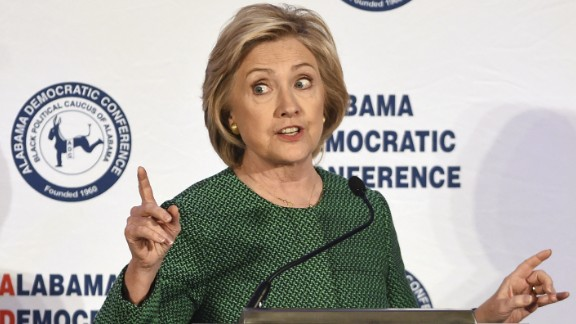 Democratic presidential candidate Hillary Rodham Clinton speaks during a meeting of the Alabama Democratic Conference in Hoover, Ala., Saturday, Oct. 17, 2015. Clinton tells black Alabama Democrats that she'd champion voting rights in the White House. She says Republicans are dismantling the progress of the civil rights movement. (AP Photo/Mark Almond)