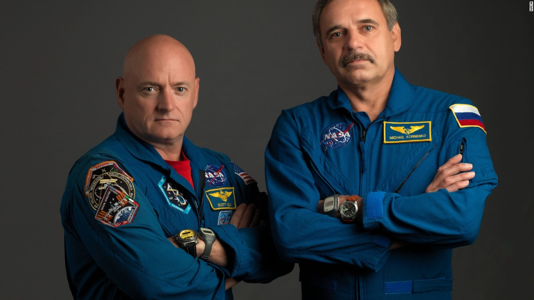 Kelly is joined on the one-year mission by Russian cosmonaut Mikhail Kornienko.
