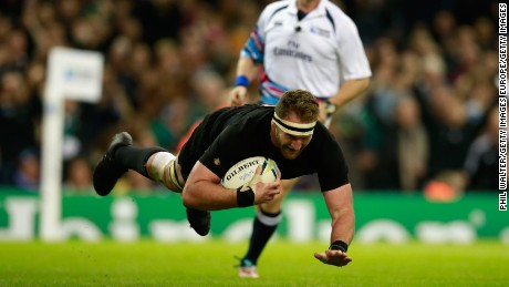 Kieran Read touches down during the 2015 Rugby World Cup quarterfinal match against France.