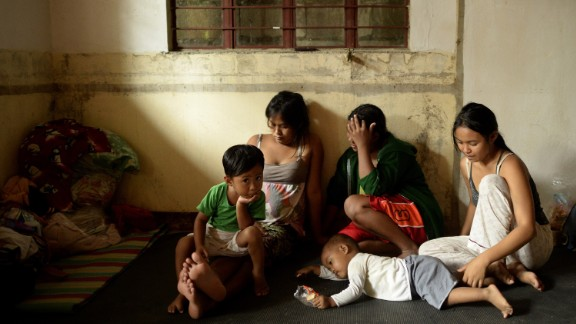 Evacuees stay at the Barangay Health Center at Dupax del Norte, Philippines, on October 18.