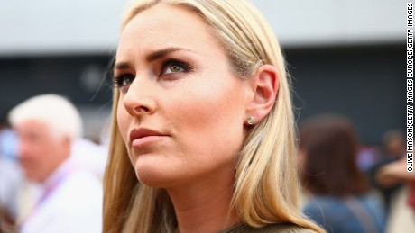 NORTHAMPTON, ENGLAND - JULY 05:  Lindsey Vonn attends the Formula One Grand Prix of Great Britain at Silverstone Circuit on July 5, 2015 in Northampton, England.  (Photo by Clive Mason/Getty Images)