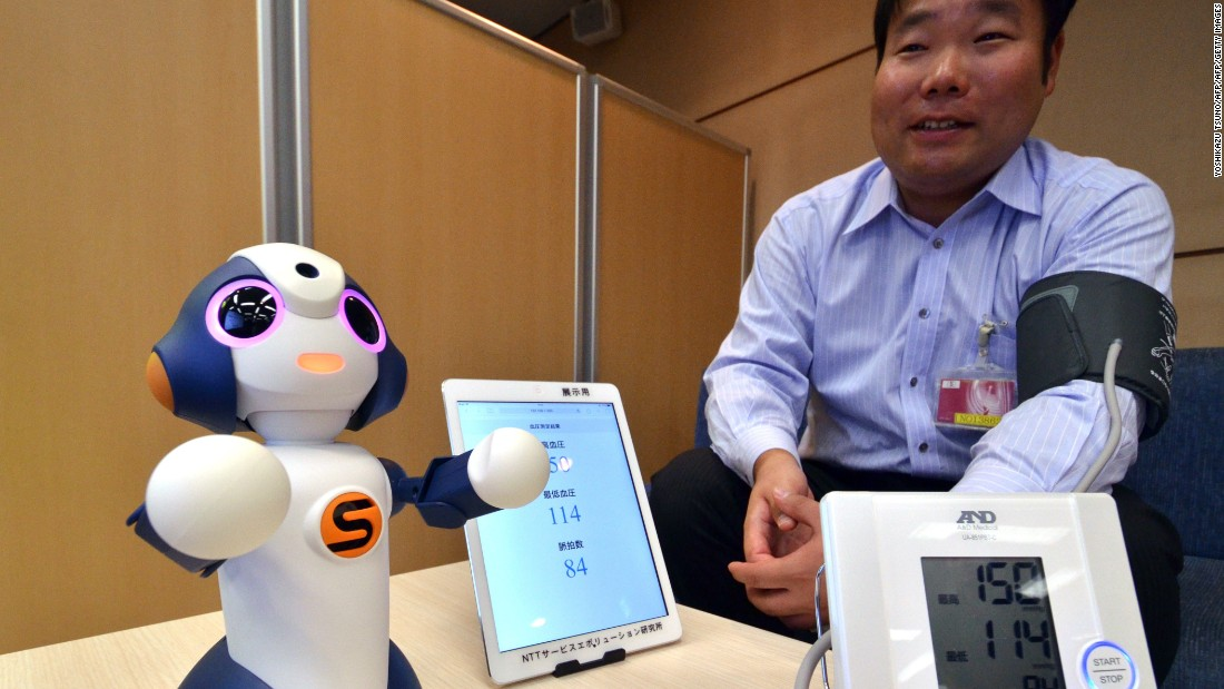 "This is ""Sota,"" a humanoid robot produced by Japanese robotics company Vstone, which uses NTT technology to control multiple electronic devices. NTT is testing its use to monitor elderly people at a retirement home, and is developing other services for elderly people and children."