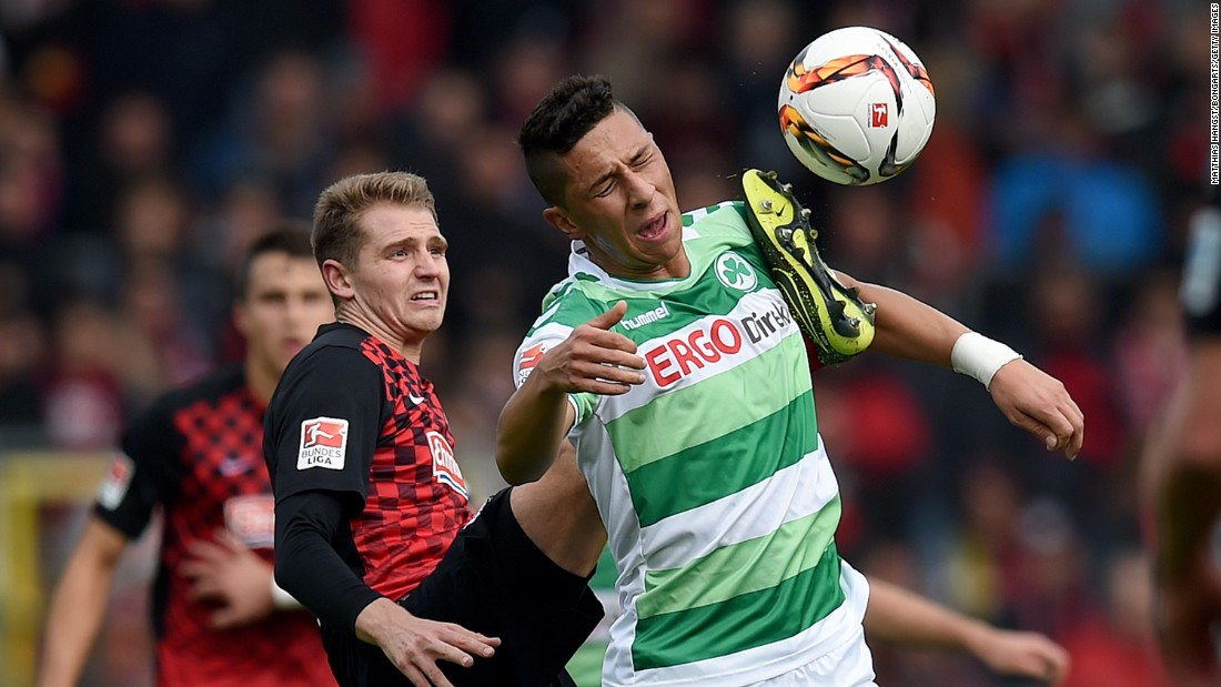Furth's Robert Zulj is kicked by Freiburg's Immanuel Hohn during a match in Freiburg im Breisgau, Germany, on Sunday, October 18.