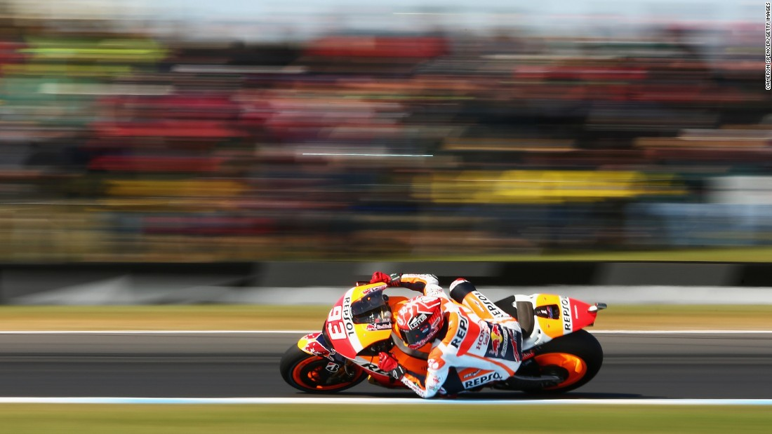 MotoGP champion Marc Marquez makes a sharp turn while qualifying in Phillip Island, Australia, on Saturday, October 17. This photo was shot using a low shutter speed.