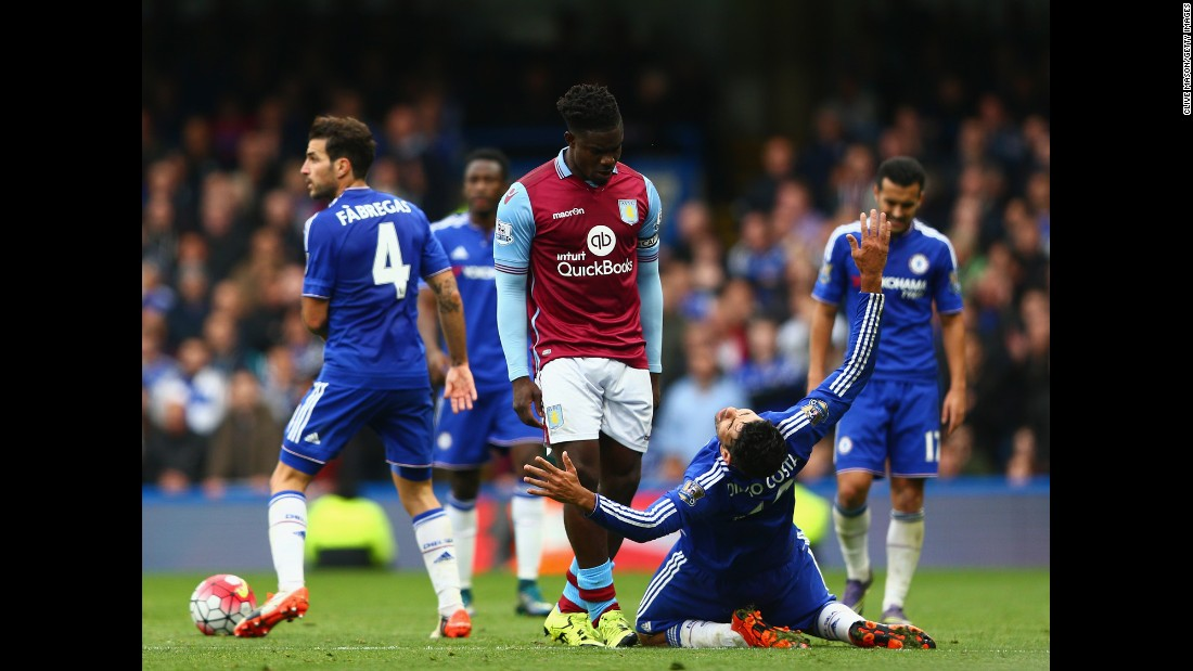 Chelsea striker Diego Costa reacts after a challenge from Aston Villa defender Micah Richards during a Premier League match in London on Saturday, October 17.