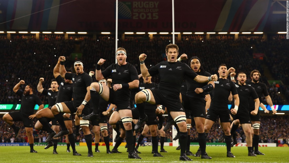 New Zealand's rugby team performs the traditional Haka dance before playing France in the Rugby World Cup quarterfinals on Saturday, October 17. New Zealand, the defending World Cup champions, crushed France 62-13.